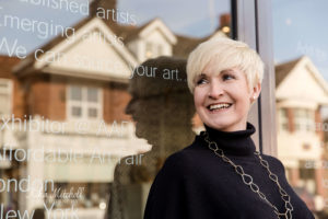 Turner Barnes Gallery owner Soo outside gallery by Kika Mitchell Photography, Chelmsford photographer