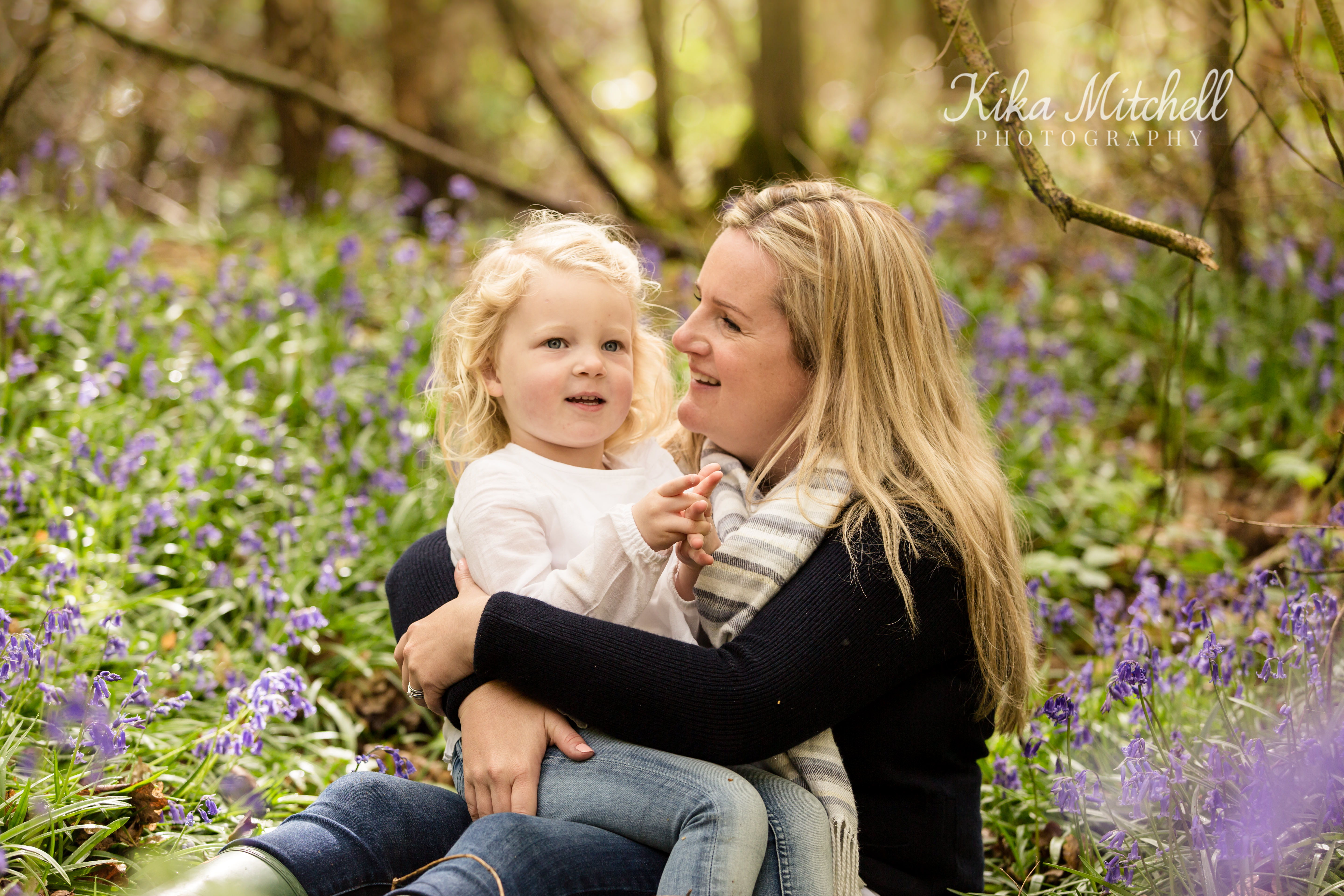 Bluebell family portrait by Chelmsford photographer Kika Mitchell photography