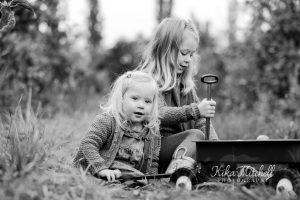 black and white portrait of sisters Autumn Mini sessions by Chelmsford photographer Kika Mitchell Photography