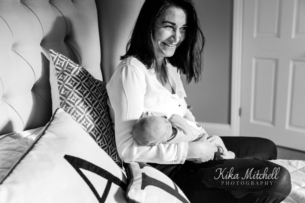 monochrome newborn portrait by Chelmsford photographer Kika Mitchell Photography