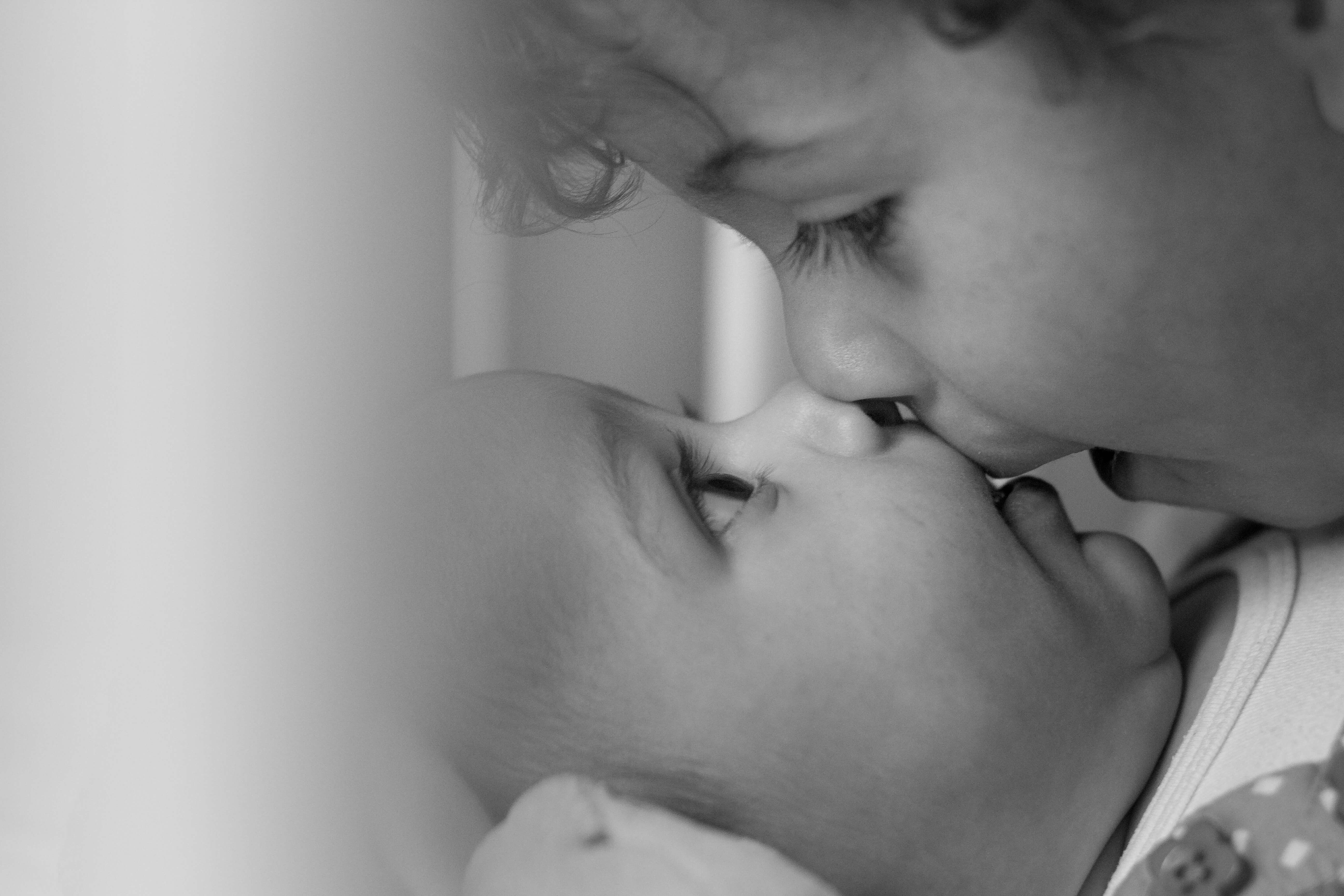 black and white close up shot of my children, this is my most fave photograph of all time by Kika MItchell Photography