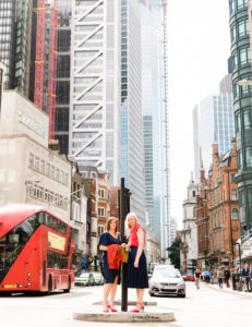 2 women at Bishopsgate, London for IES networking hub personal branding photography captured by Chelmsford headshot photographer Kika Mitchell Photography