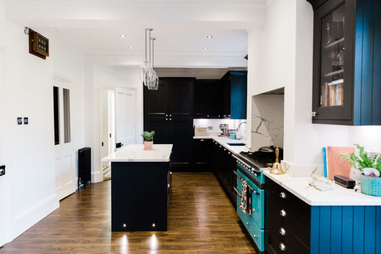 wide shot of stunning dark kitchen with wooden floor as featured in Our dream kitchen blog by Chelmsford photographer Kika Mitchell Photography