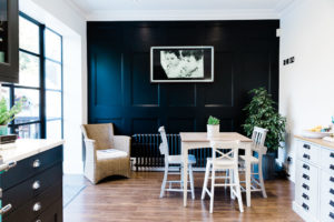 Our dream kitchen blog image featuring panelled wall and radiator captured by Chelmsford photographer Kika Mitchell
