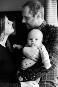 black and white image newborn lockdown baby by Chelmsford photographer kika mItchell photography