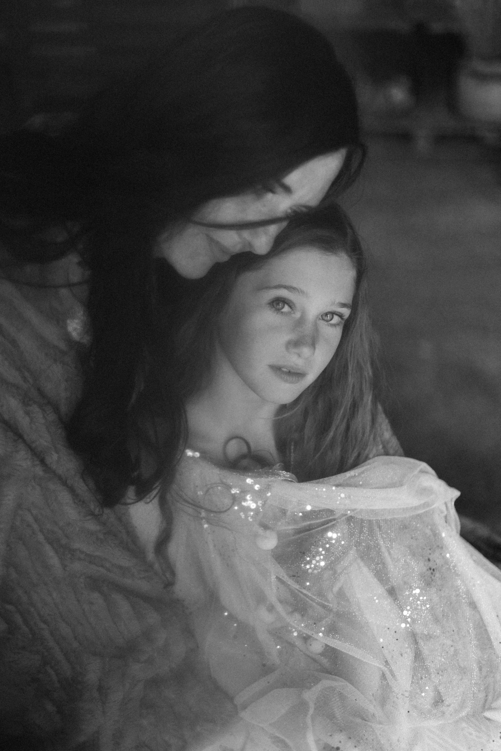 monochrome portrait of motherhood featuring mother and daughter in textured old fashioned photograph by Chelmsford photographer Kika Mitchell Photography