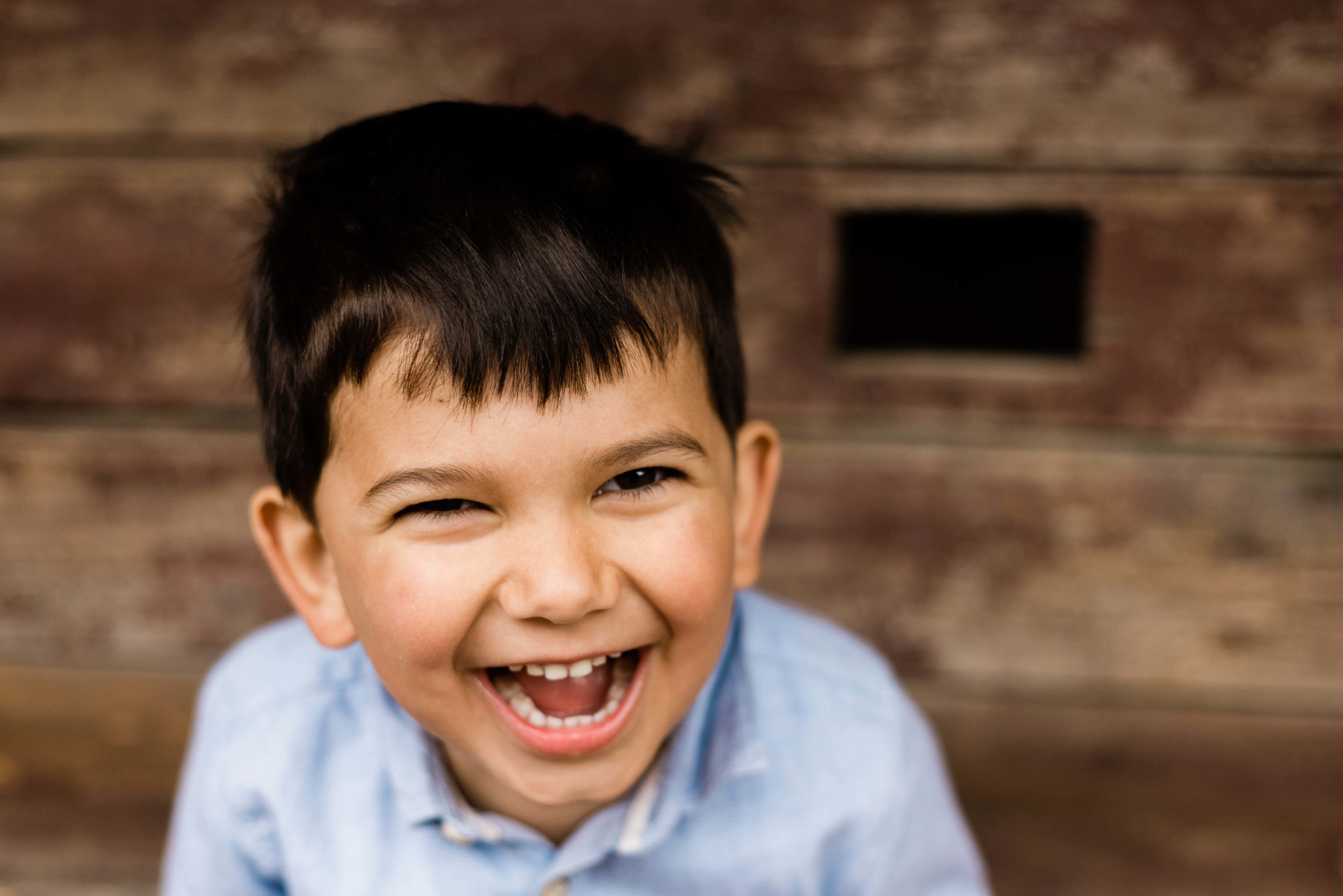 natural laughter of toddler in blue shirt captured by Chelmsford photographer Kika MItchell